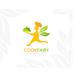 catering logo template cook with food tray vector image