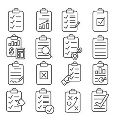 clipboard line icons set on white background vector image