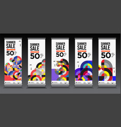 Colorful summer sale roll up banner for business vector
