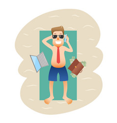conceptual business flat banner man on weekends vector image