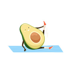 Cute and funny avocado doing sports exercises vector