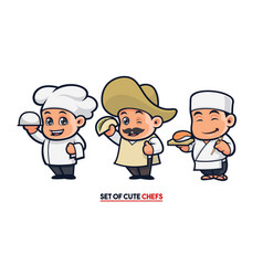 cute chef mascot set vector image