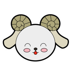 Cute goat face vector