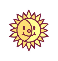 cute icon happy yellow sun vector image