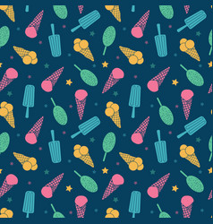 Dark blue ice cream and candy seamless pattern vector