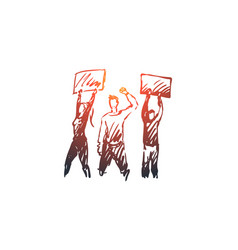 Demonstration riots rallies concept hand drawn vector