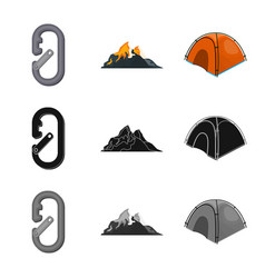Design of mountaineering and peak icon set vector