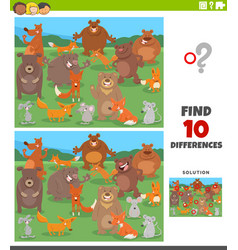 differences educational task with cartoon wild vector image