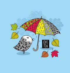 doodle bird under the colorful bright umbrella vector image
