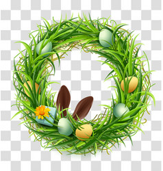 Easter wreath of green grass with eggs and rabbit vector
