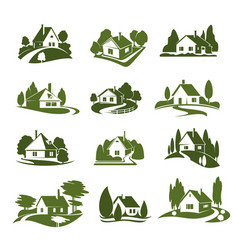 eco green house with tree and lawn isolated icon vector image