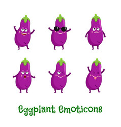 Eggplant smiles cute cartoon emoticons emoji vector