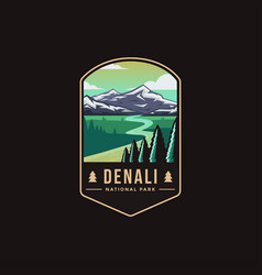 Emblem patch logo denali national park vector