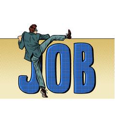 employee looking for work job word inscription vector image