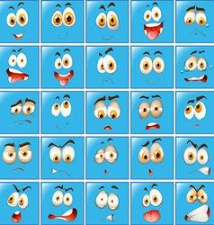 Facial expression on blue button vector