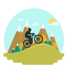 Female mountain bike rider vector