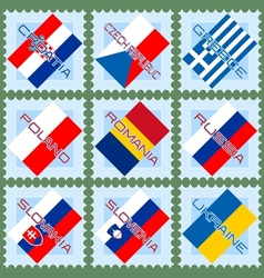 Flags on stamps vector
