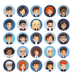 Flat business round avatars on color vector
