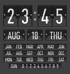 Flip clock template with time date and day vector