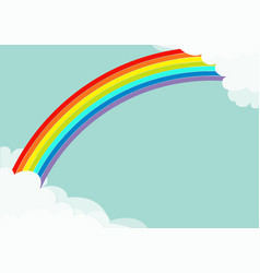Fluffy cloud in corners frame template rainbow in vector