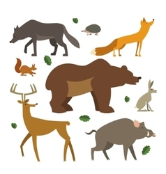Forest animals icons set Wild european animals vector