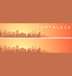 Fortaleza beautiful skyline scenery banner vector