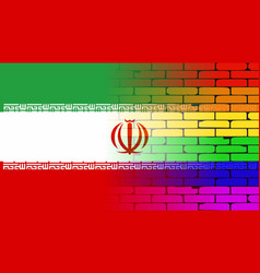 Gay rainbow wall iranian flag vector