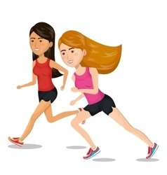 girl cartoon running jogging icon graphic vector image