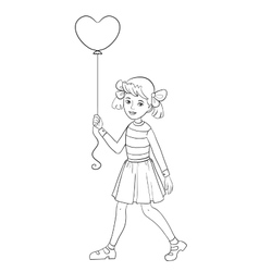 Girl with balloon of shape of heart in hand vector image