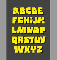 graffiti or comic style alphabet font vector image
