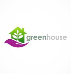green house eco logo vector image