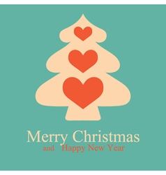 Greeting card with christmas tree and hearts vector