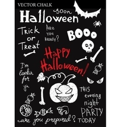 Hand Drawn Halloween Chalk Doodles Set vector image