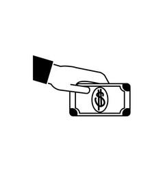 Hand giving bill money business financial line vector