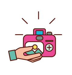 hand with photographic camera picture art vector image