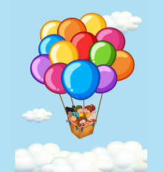 Happy children riding on balloons vector