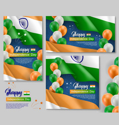 happy indian independence day posters set vector image