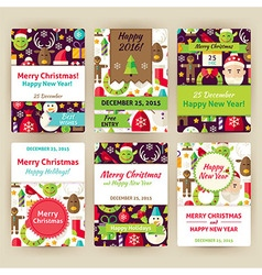 Happy New Year Flat Invitation Template Set vector image