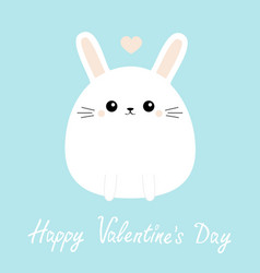 happy valentines day white bunny rabbit icon vector image