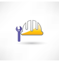 helmet and wrench icon vector image