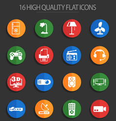Home appliances 16 flat icons vector