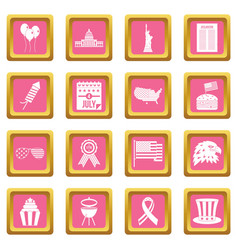 Independence day flag icons pink vector