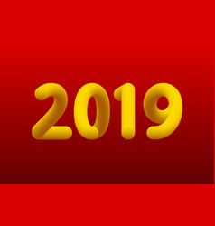 Inflated number yellow figures of 2019 new year vector