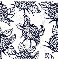 Ink hand drawn seamless pattern with chrysanthemum vector