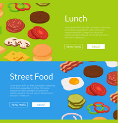 isometric burger ingredients web banner vector image
