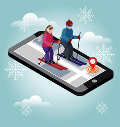 Isometric man and woman skiing happy couple loves vector