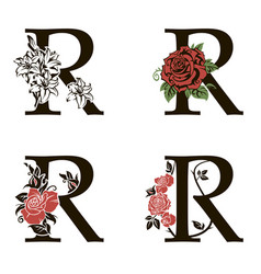 Letters r with flowers bouquet vector