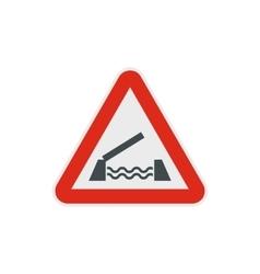 Lifting bridge warning sign icon flat style vector image