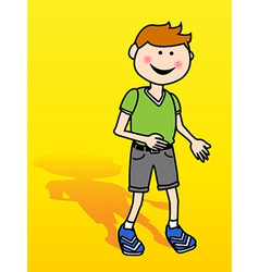 Little boy over yellow vector