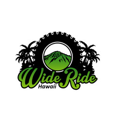 Logo design trail bike trip on hawaii vector